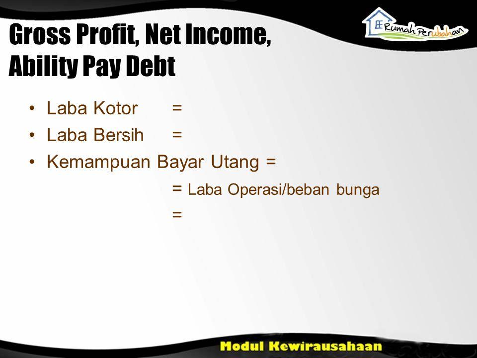 Gross Profit, Net Income, Ability Pay Debt •Laba Kotor = •Laba Bersih = •Kemampuan Bayar Utang = = Laba Operasi/beban bunga =
