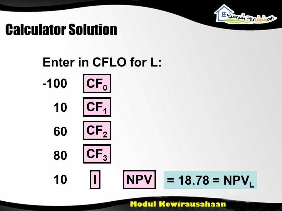 Calculator Solution Enter in CFLO for L: -100 10 60 80 10 CF 0 CF 1 NPV CF 2 CF 3 I = 18.78 = NPV L