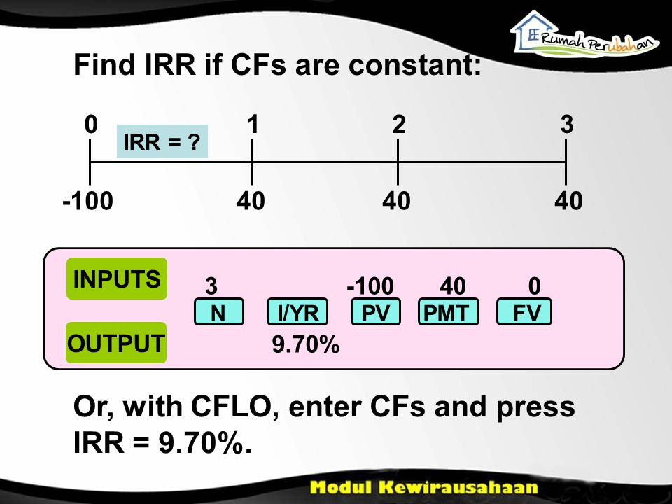 40 0123 IRR = . Find IRR if CFs are constant: -100 Or, with CFLO, enter CFs and press IRR = 9.70%.