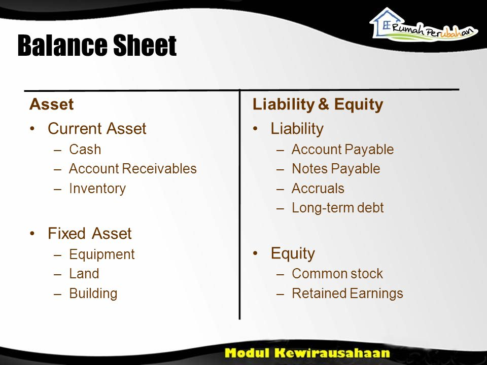 Balance Sheet Asset •Current Asset –Cash –Account Receivables –Inventory •Fixed Asset –Equipment –Land –Building Liability & Equity •Liability –Account Payable –Notes Payable –Accruals –Long-term debt •Equity –Common stock –Retained Earnings