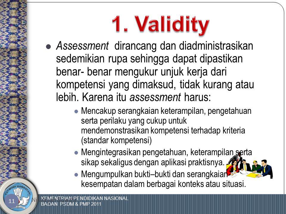KEMENTRIAN PENDIDIKAN NASIONAL BADAN PSDM & PMP 2011 Ni Wayan Suwithi 10 4 1. Valid/ Validity2. Terpercaya/Reliability3. Dinamis/ Fleksibility4. Adil/