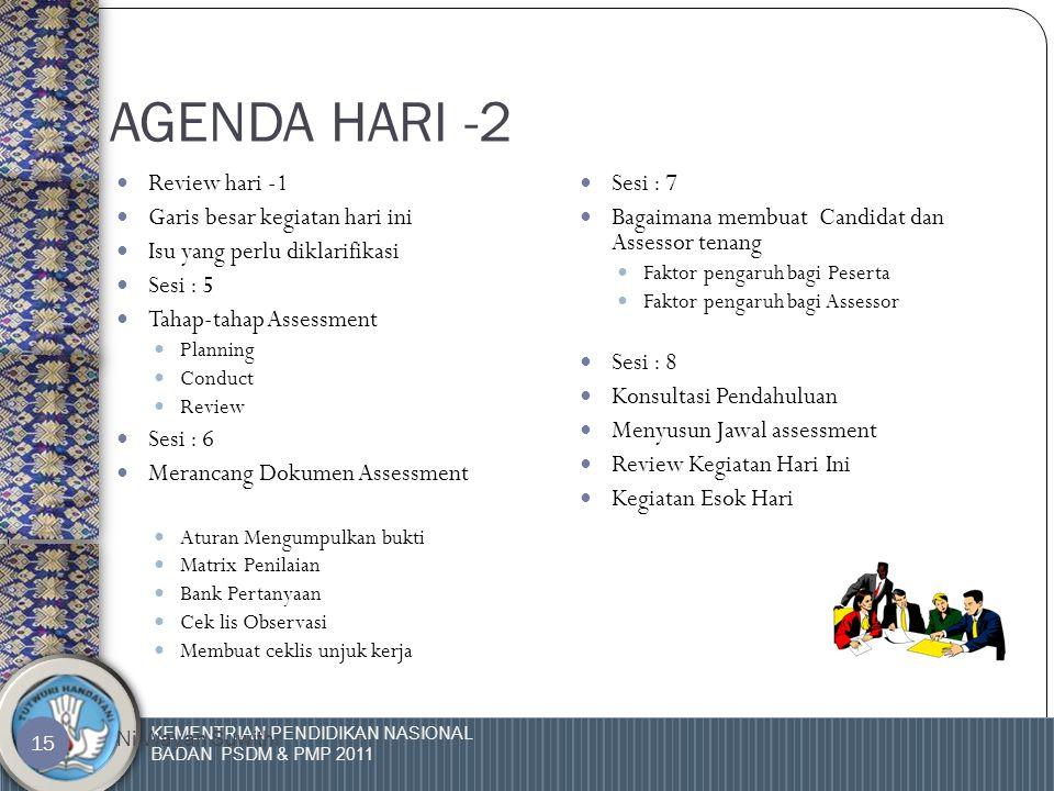 KEMENTRIAN PENDIDIKAN NASIONAL BADAN PSDM & PMP 2011 Ni Wayan Suwithi 14  Assessment adil bila yakin bahwa proses yang digunakan tidak akan merugikan assessee.