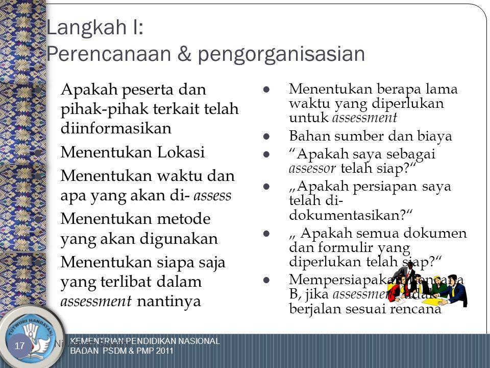 KEMENTRIAN PENDIDIKAN NASIONAL BADAN PSDM & PMP 2011 Ni Wayan Suwithi 16 Langkah 1 MERENCANAKAN DAN MENGORGANISASIKAN Langkah 1 MERENCANAKAN DAN MENGORGANISASIKAN Langkah 2 MEMPERSIAPKAN KANDIDAT Langkah 2 MEMPERSIAPKAN KANDIDAT Langkah 3 MENGUMPULKAN DAN MENILAI BUKTI Langkah 3 MENGUMPULKAN DAN MENILAI BUKTI Langkah 4 MENCATAT ASSESSMENT Langkah 4 MENCATAT ASSESSMENT Langkah 5 MEMBERIKAN UMPAN BALIK Langkah 5 MEMBERIKAN UMPAN BALIK Langkah 6 MEMBUAT LAPORAN Langkah 6 MEMBUAT LAPORAN