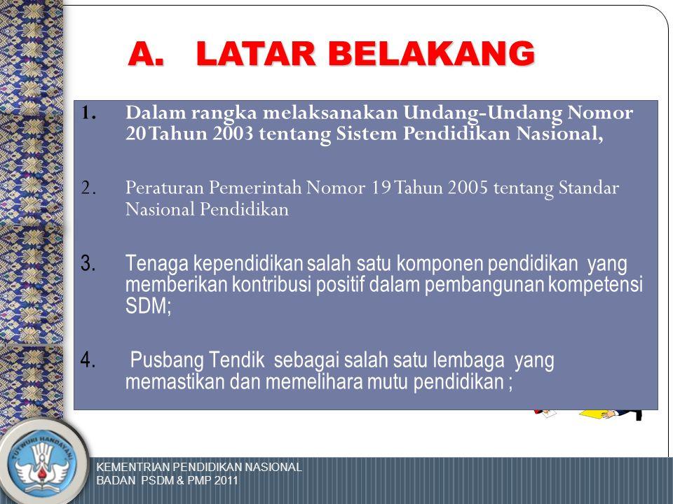 KEMENTRIAN PENDIDIKAN NASIONAL BADAN PSDM & PMP 2011