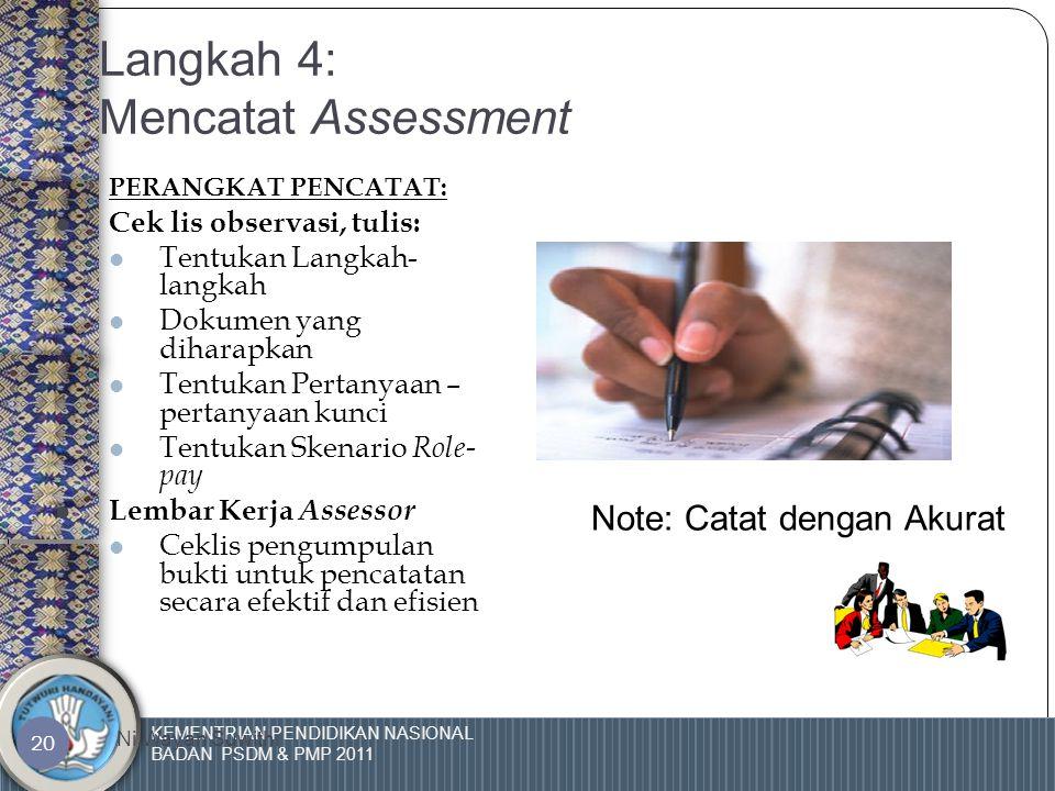 KEMENTRIAN PENDIDIKAN NASIONAL BADAN PSDM & PMP 2011 Ni Wayan Suwithi 19 Langkah 3: Pengumpulan Bukti Sumber Bukti  Demonstrasi  Pengalaman Praktis