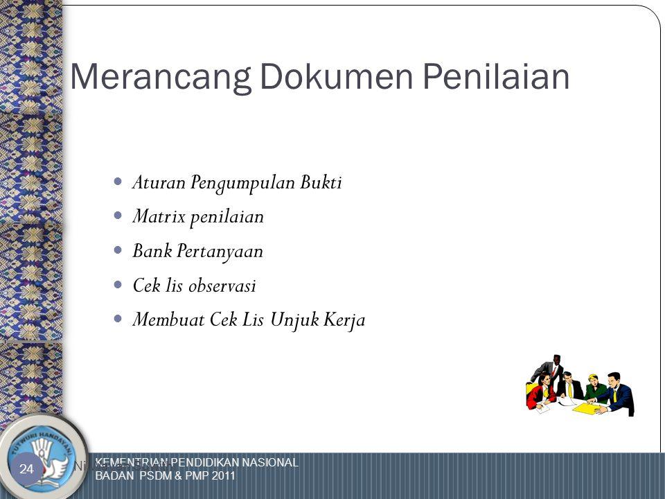 KEMENTRIAN PENDIDIKAN NASIONAL BADAN PSDM & PMP 2011 Ni Wayan Suwithi 23 - Penilai / Asessor Merencanakan Penilaian -Menentukan Metoda -Membuat perangkat penilaian Konsultasi Pra- Penilaian Proses Pengujian/ MengumpulkanData Interview,Observasi, Roleplay,Project work, Portofolio,dsb Mengkaji Ulang dan membuat keputusan Validitas,Objektifitas,Dapat Dipercaya,Keaslian, kecukupan, actual,konsisten, holistic Penyimpanan Dokumen IPK GURU & TENDIK Menginformasikan hasil dan memberikan umpan balik Tujuan Penilaian ORGANISASI PROFESI Laporan ru Rahasia Kandidat Sketsa Proses Pelaksanaan
