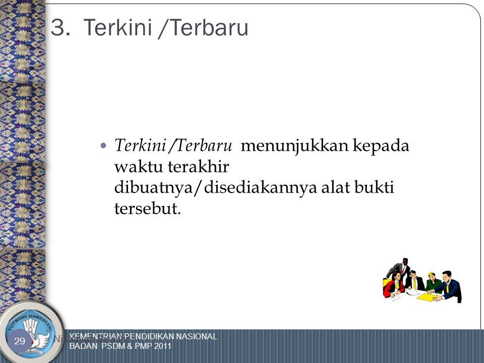 KEMENTRIAN PENDIDIKAN NASIONAL BADAN PSDM & PMP 2011 Ni Wayan Suwithi 28 2. Authenticity/Asli  Authenticity berkaitan dengan keyakinan bahwa bukti ya