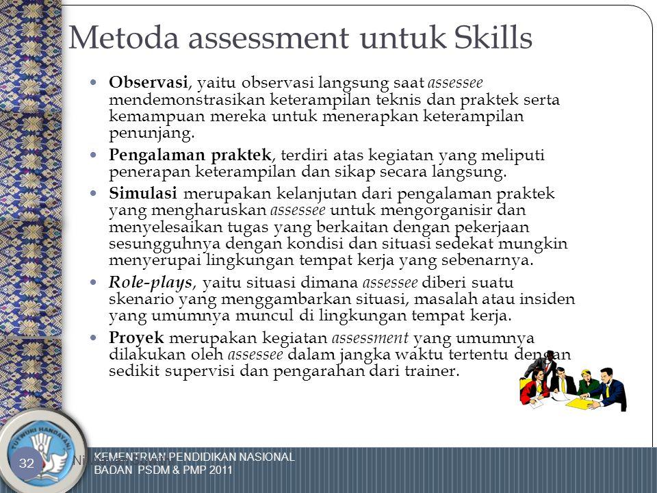 KEMENTRIAN PENDIDIKAN NASIONAL BADAN PSDM & PMP 2011 Ni Wayan Suwithi 31 MATRIX ASSESSMENT  Fungsi matrix assessment adalah untuk mengidentifikasi area Skills, Knowledge dan Attitude dari setiap unjuk kerja.