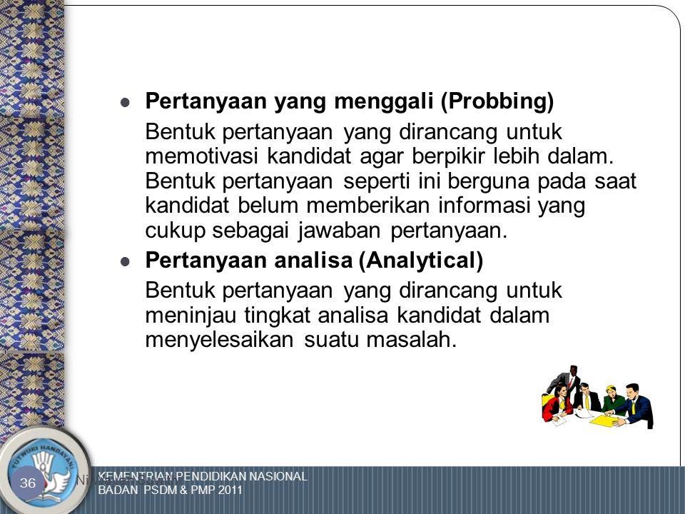 KEMENTRIAN PENDIDIKAN NASIONAL BADAN PSDM & PMP 2011 Ni Wayan Suwithi 35 Jenis Pertanyaan  Pertanyaan yang tertutup. Pertanyaan tertutup adalah bentu
