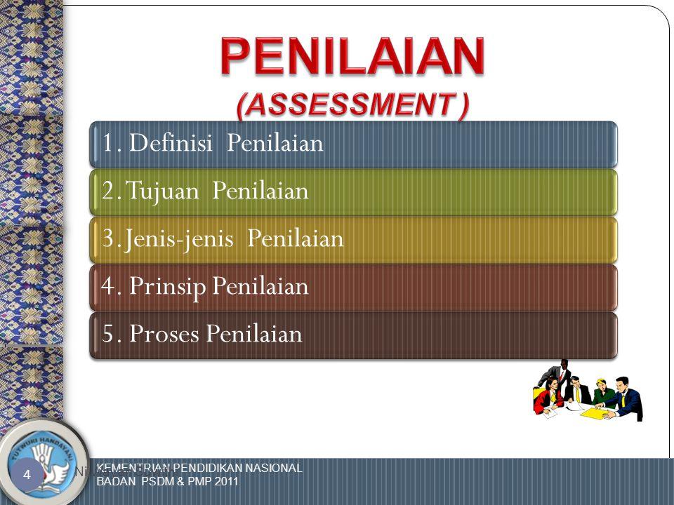 KEMENTRIAN PENDIDIKAN NASIONAL BADAN PSDM & PMP 2011 Ni Wayan Suwithi 54 Kaji Ulang Proses Assessment  Apakah proses assessment sudah berjalan baik.