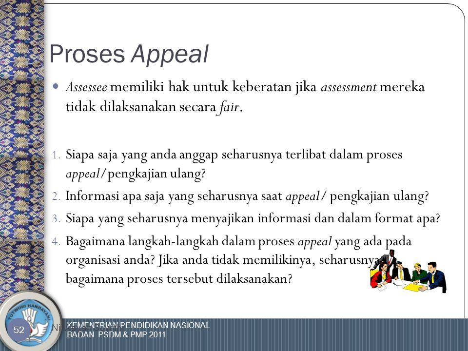 KEMENTRIAN PENDIDIKAN NASIONAL BADAN PSDM & PMP 2011 Ni Wayan Suwithi 51 Umpan balik untuk assessee (lanjutan)  Jika perlu, adakan diskusi tambahan t