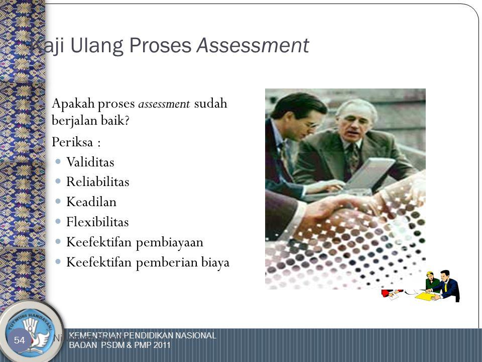KEMENTRIAN PENDIDIKAN NASIONAL BADAN PSDM & PMP 2011 Ni Wayan Suwithi 53 Mengapa diperlukan pengkajian ulang assessment.