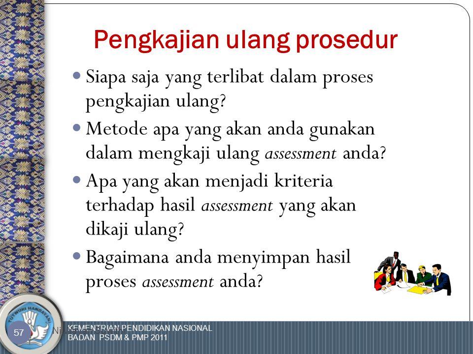 KEMENTRIAN PENDIDIKAN NASIONAL BADAN PSDM & PMP 2011 Ni Wayan Suwithi 56 Kriteria dalam pengkajian ulang pelaksanaan assessment  Berapa lama assessment tersebut dilaksanakan.