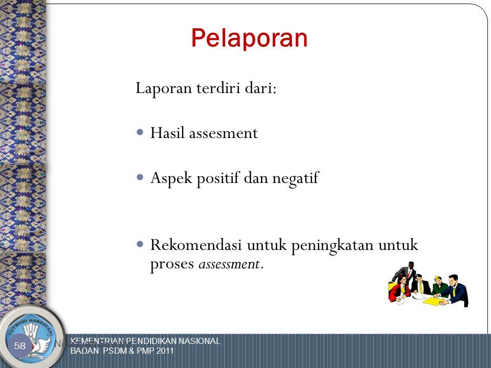 KEMENTRIAN PENDIDIKAN NASIONAL BADAN PSDM & PMP 2011 Ni Wayan Suwithi 57 Pengkajian ulang prosedur  Siapa saja yang terlibat dalam proses pengkajian