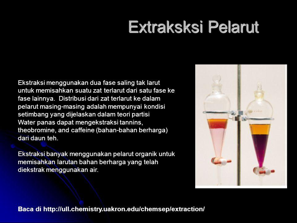 Extraksksi Pelarut Baca di http://ull.chemistry.uakron.edu/chemsep/extraction/ Ekstraksi menggunakan dua fase saling tak larut untuk memisahkan suatu