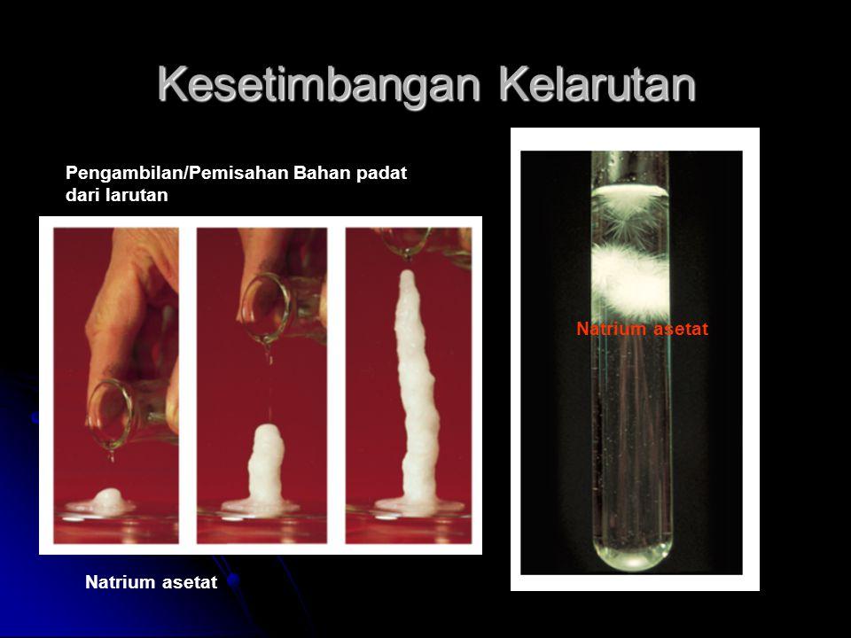 Kesetimbangan Kelarutan Pengambilan/Pemisahan Bahan padat dari larutan Natrium asetat