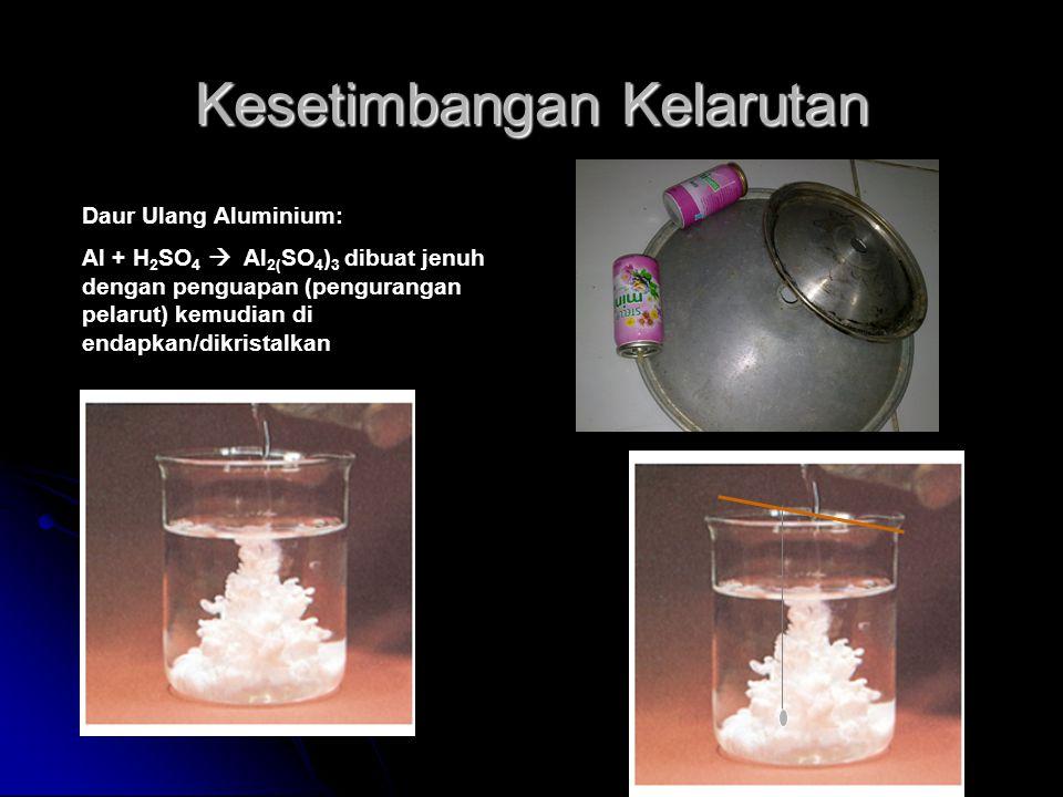 Kesetimbangan Kelarutan Daur Ulang Aluminium: Al + H 2 SO 4  Al 2( SO 4 ) 3 dibuat jenuh dengan penguapan (pengurangan pelarut) kemudian di endapkan/