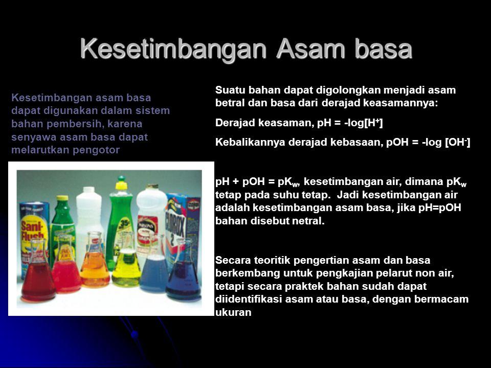 Kesetimbangan Asam basa Suatu bahan dapat digolongkan menjadi asam betral dan basa dari derajad keasamannya: Derajad keasaman, pH = -log[H + ] Kebalik