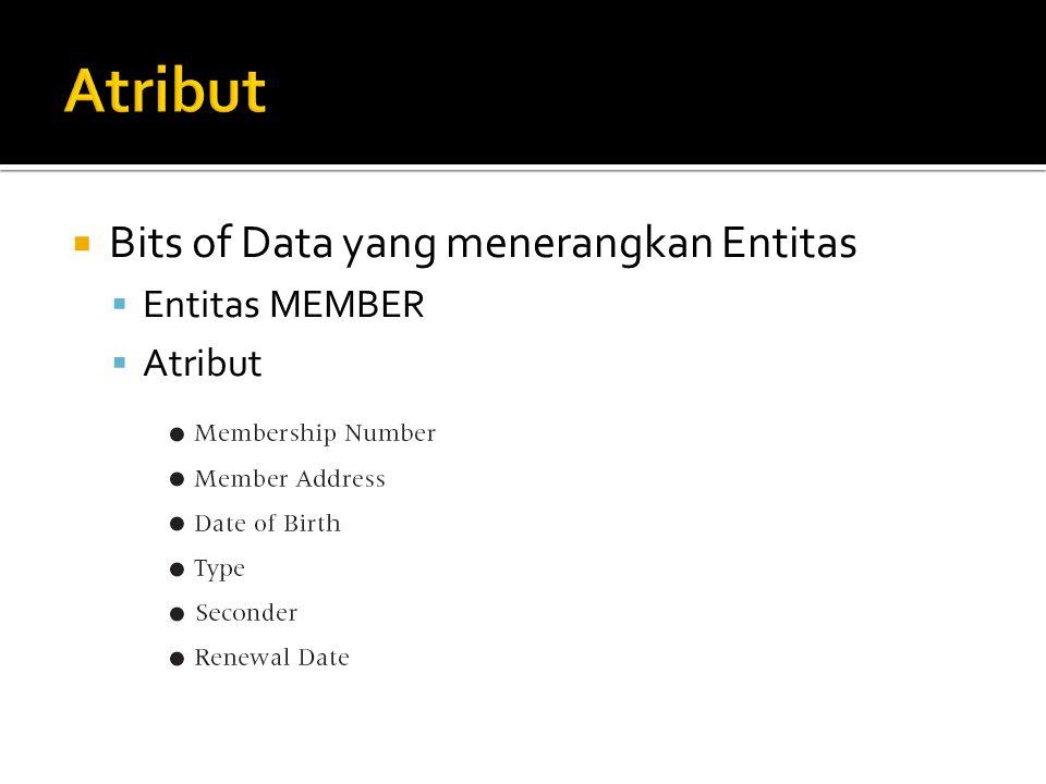  Bits of Data yang menerangkan Entitas  Entitas MEMBER  Atribut