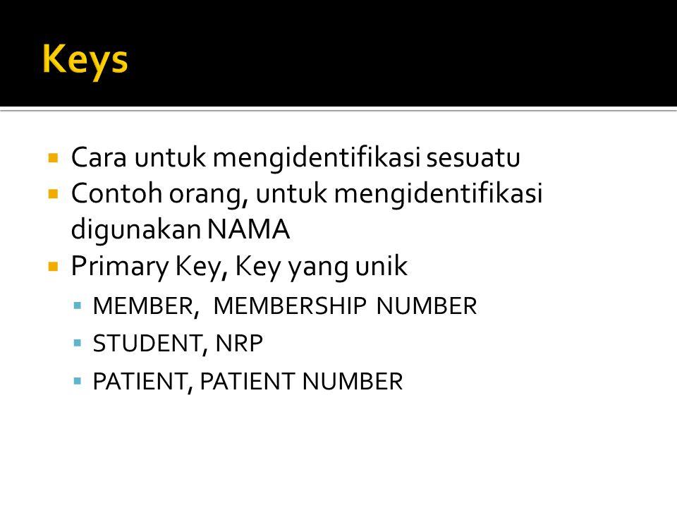  Cara untuk mengidentifikasi sesuatu  Contoh orang, untuk mengidentifikasi digunakan NAMA  Primary Key, Key yang unik  MEMBER, MEMBERSHIP NUMBER  STUDENT, NRP  PATIENT, PATIENT NUMBER