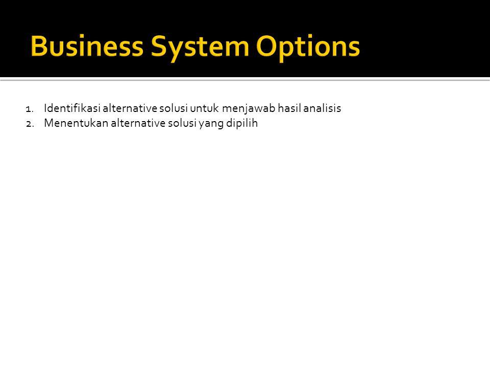 1.Identifikasi alternative solusi untuk menjawab hasil analisis 2.Menentukan alternative solusi yang dipilih