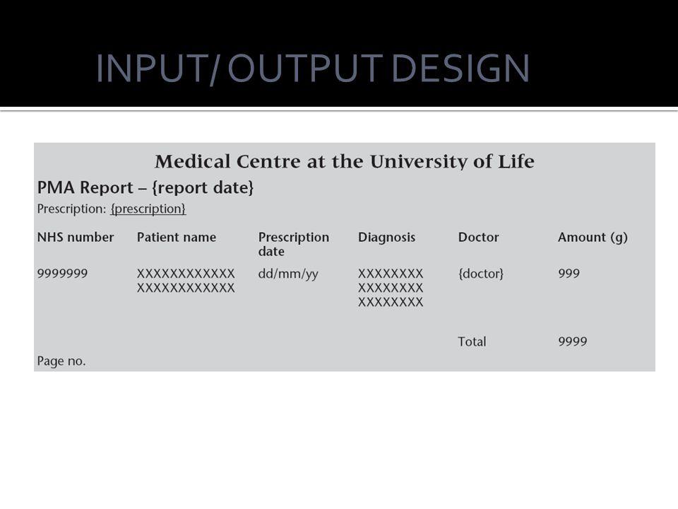 INPUT/ OUTPUT DESIGN