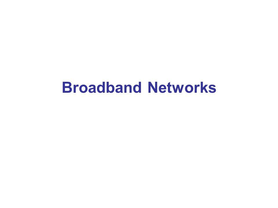 Definisi Broadband •Biasanya broadband services didefinisikan sebagai pelayanan telekomunikasi yang membutuhkan kanal transmisi lebih besar dari 2 Mbps (E1) •Atau: Jaringan digital yang dapat melayani apa saja: jasa data kecepatan tinggi, videophone, videoconference, transmisi grafis resolusi tinggi, CATV, termasuk juga jasa sebelumnya seperti telepon, data, telemetri dan faksimile •Belum ada standar global ttg definisi Broadband