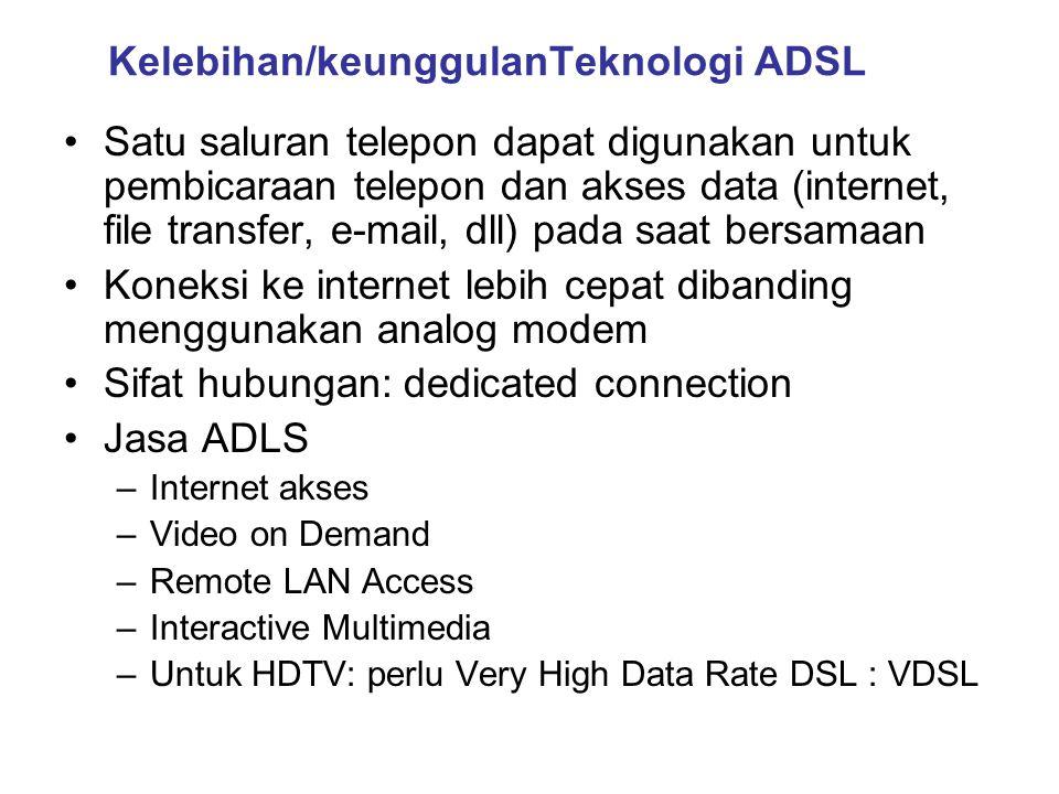 Kelebihan/keunggulanTeknologi ADSL •Satu saluran telepon dapat digunakan untuk pembicaraan telepon dan akses data (internet, file transfer, e-mail, dl