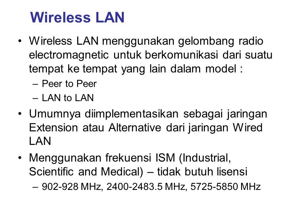 Wireless LAN •Wireless LAN menggunakan gelombang radio electromagnetic untuk berkomunikasi dari suatu tempat ke tempat yang lain dalam model : –Peer t