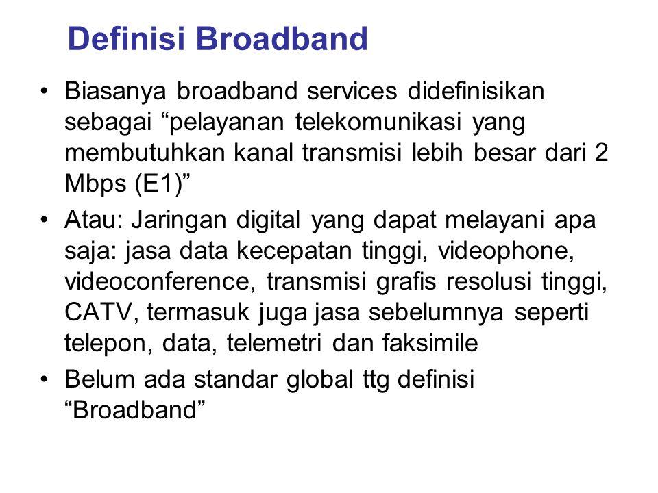 """Definisi Broadband •Biasanya broadband services didefinisikan sebagai """"pelayanan telekomunikasi yang membutuhkan kanal transmisi lebih besar dari 2 Mb"""