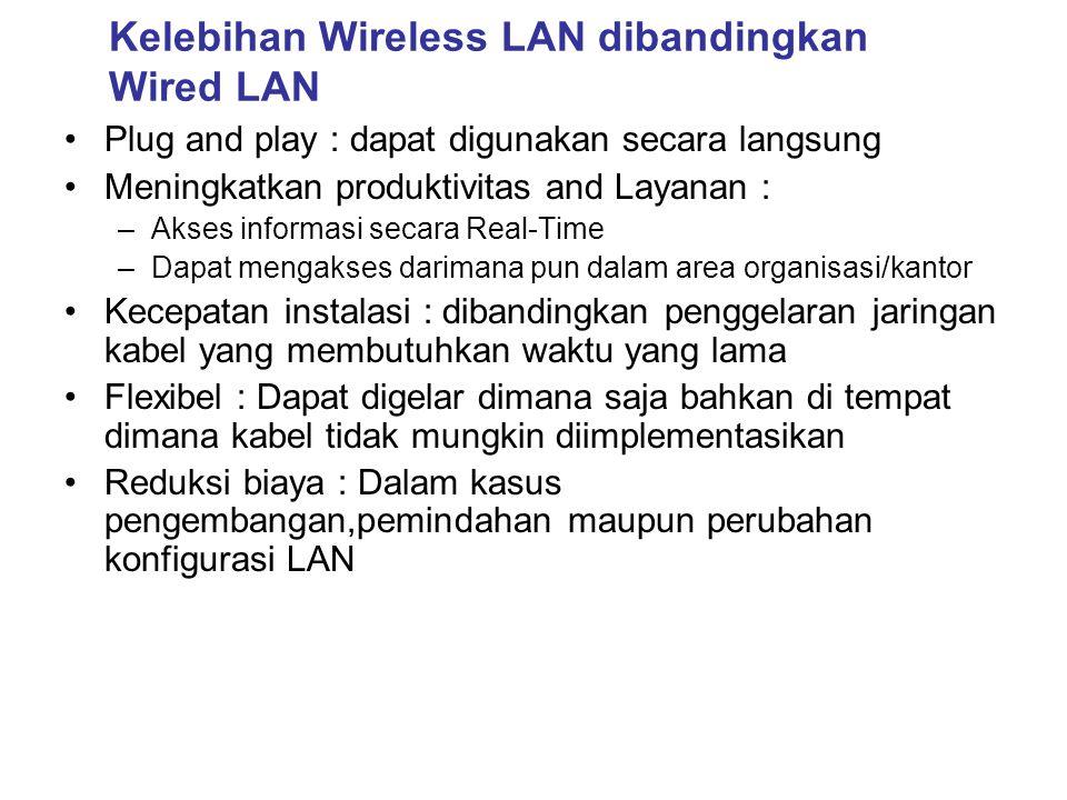 Kelebihan Wireless LAN dibandingkan Wired LAN •Plug and play : dapat digunakan secara langsung •Meningkatkan produktivitas and Layanan : –Akses inform