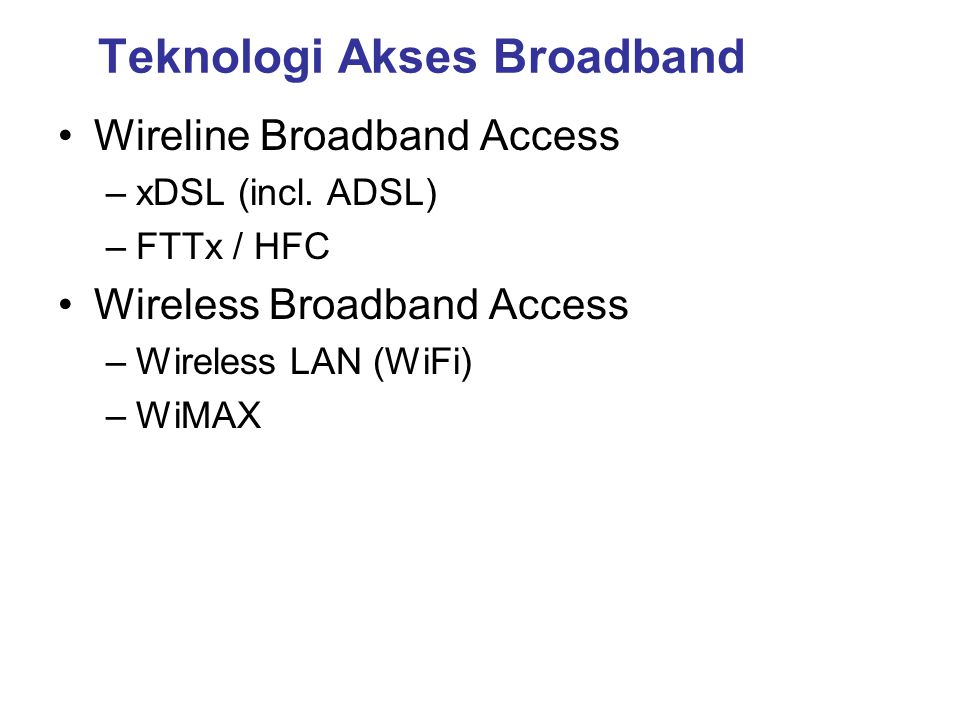 Standar WiMAX ►Extension for 2-11 GHz ►Non-LOS, Point-to-Multi-Point applications such as last mile access & B/H ►Original fixed wireless broadband air Interface for 10 – 66 GHz ►Line-of-sight only, Point-to-Point applications •Published as 802.16 – 2004, replacing earlier revisions •Fixed & Portable applications 2 – 6 GHz •HIPERMAN compatibility •Mobility to highway speeds in licensed bands from 2-6 GHz •Roaming within & between service areas •Possible WiBRO Compatibility Source: 2004 WiMax Forum 802.16c (2002) 802.16 (Dec 2001) 802.16a (Jan 2003) 802.16d (Q3 2004) 802.16e WIMAXWIMAX OFDM ►802.16 amendment for Line of Sight, Point to Point backhaul using spectrum between 10 - 66 GHz