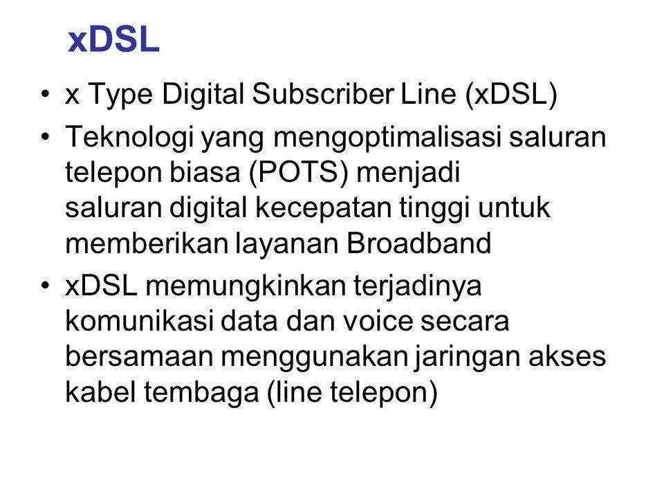 xDSLKepanjanganRateModeAplikasi HDSLHigh-Speed Digital Subscriber Line (2 pair) 1,544 MbpsSymmetricPair Gain (12 kanal), Internet, Pengganti T1 / E1 SHDSLSingle Line HDSL1,544 MbpsSymmetricIdem HDSL, tapi pair gain 24 kanal ADSL (G-Lite) Asymmetric DSLs/d 1,5 Mbps s/d 512 Kbps Downstream Upstream Internet, Video Phone ADSL (G.DMT) Asymmetric DSLs/d 10 Mbps s/d 1 Mbps Downstream Upstream Internet, Video Conference, Remote LAN SDSLSymmetrical DSLs/d 2 MbpsSymmetricInternet, Video Conference, LAN, VPN, Video Streaming VDSLVery High Speed DSL s/d 8 MbpsSymmetric