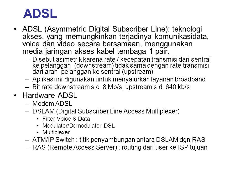 ADSL •ADSL (Asymmetric Digital Subscriber Line): teknologi akses, yang memungkinkan terjadinya komunikasidata, voice dan video secara bersamaan, mengg