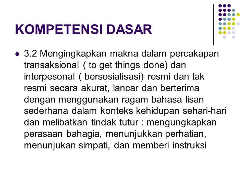 MATERI PEMBELAJARAN Contoh materi pembelajaran (menerima janji) Formal Expression: I will get you the book Respond: It's very kind of you Informal Exp