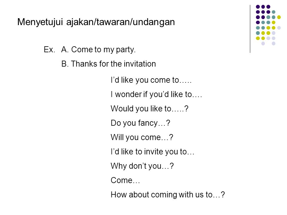 Saragih : Hello Endah,…………… you to come to my house tonight,we will have a party for my youngest sister. Endah : Yes sure………………….to accept you invitat