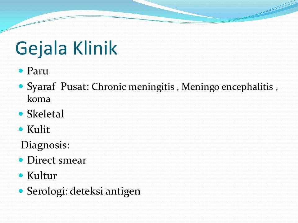 Gejala Klinik  Paru  Syaraf Pusat: Chronic meningitis, Meningo encephalitis, koma  Skeletal  Kulit Diagnosis:  Direct smear  Kultur  Serologi: