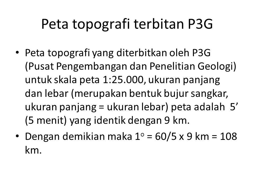 Peta topografi terbitan P3G • Peta topografi yang diterbitkan oleh P3G (Pusat Pengembangan dan Penelitian Geologi) untuk skala peta 1:25.000, ukuran p
