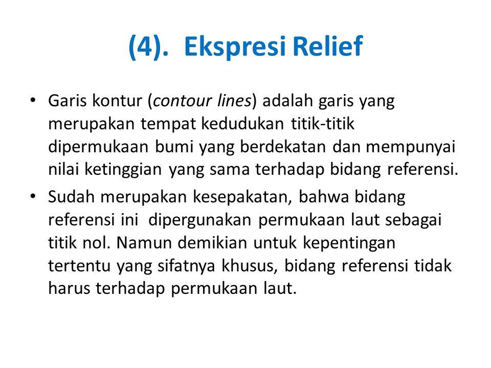 (4). Ekspresi Relief • Garis kontur (contour lines) adalah garis yang merupakan tempat kedudukan titik-titik dipermukaan bumi yang berdekatan dan memp