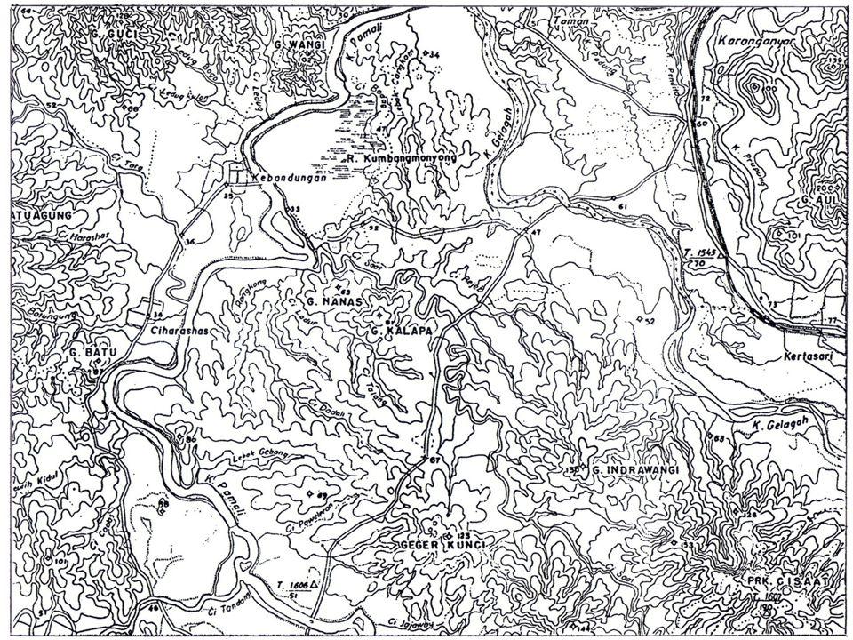 Peta topografi • Gambaran vertikal (proyeksi orthogonal) dari penggambaran angka-angka hasil pengukuran geodetik di lapangan.