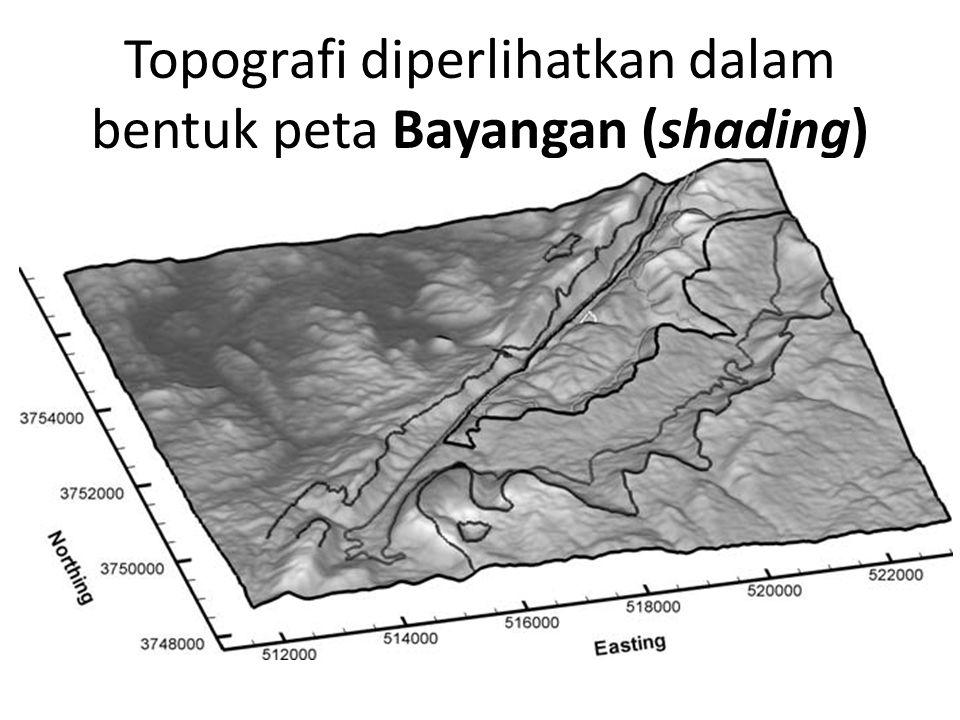 Topografi diperlihatkan dalam bentuk peta Bayangan (shading)