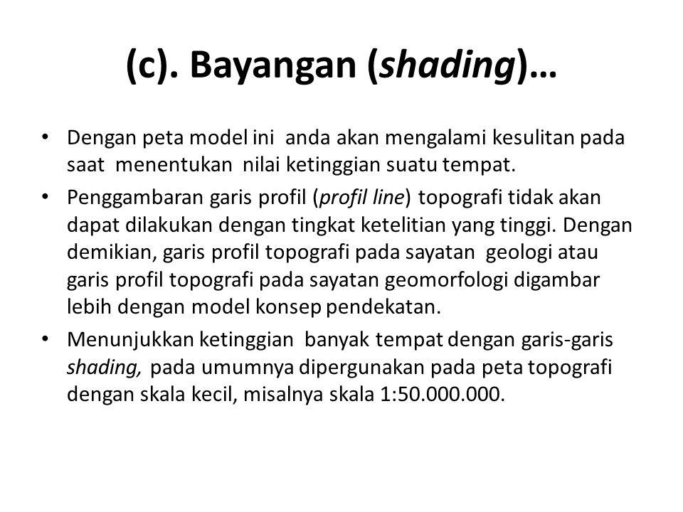 (c). Bayangan (shading)… • Dengan peta model ini anda akan mengalami kesulitan pada saat menentukan nilai ketinggian suatu tempat. • Penggambaran gari