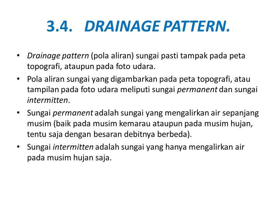 3.4. DRAINAGE PATTERN. • Drainage pattern (pola aliran) sungai pasti tampak pada peta topografi, ataupun pada foto udara. • Pola aliran sungai yang di
