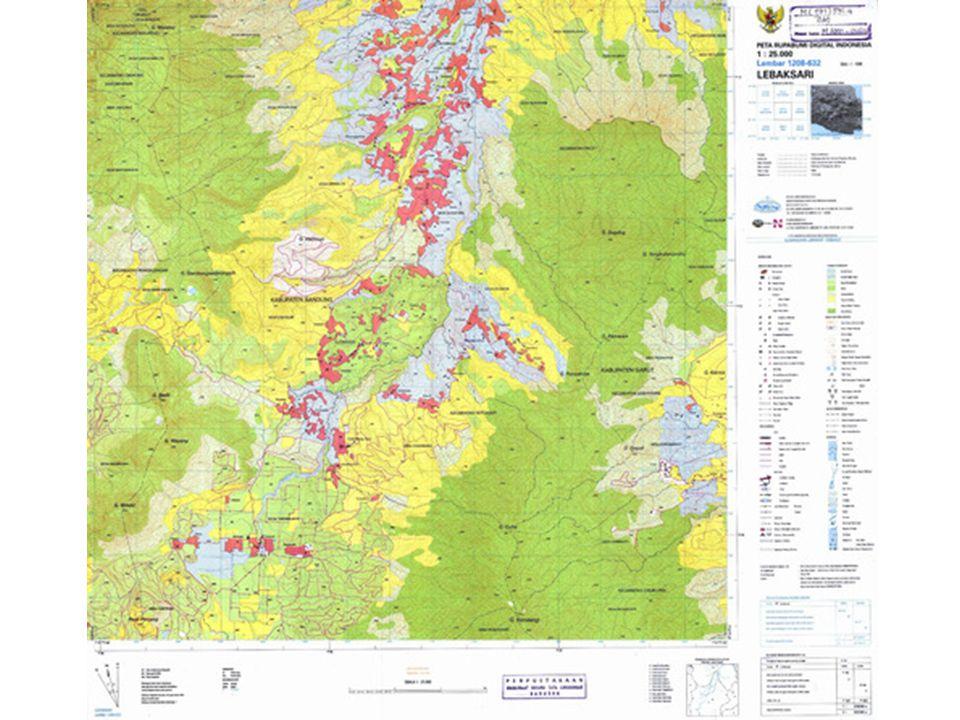 TEMPAT MEMPEROLEH PETA TOPOGRAFI • Di Indonesia peta topografi dengan berbagai macam skala dapat diperoleh di Direktorat Geologi Bandung, Jalan Diponegoro 57 Bandung (sekarang disebut sebagai Pusat Pengembangan dan Penelitian Geologi Bandung = P3G Bandung), atau di Kantor Badan Koordinasi Survey dan Pemetaan Nasional (Bakosurtanal) c.q.