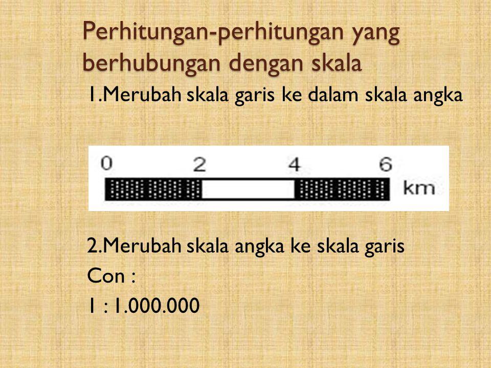 2.Skala Perbandingan antara jarak peta dengan jarak sebenarnya.  Ada 3 macam skala -Skala angka. Con : 1 : 1.000.000 -Skala garis : Dinyatakan dengan