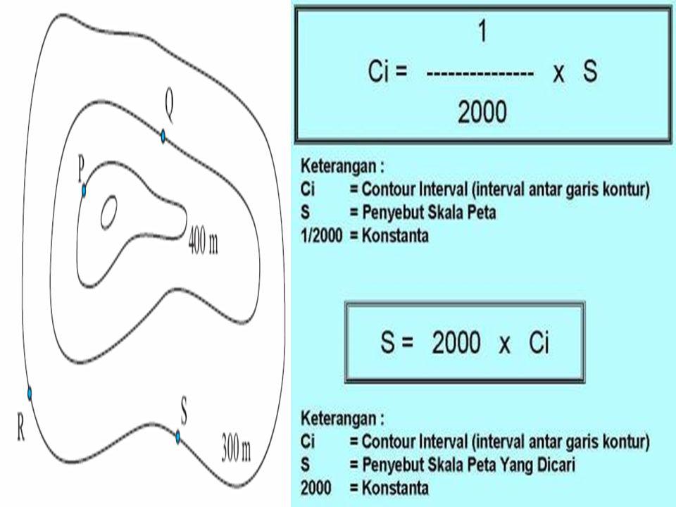 6.Menghitung interval Peta Kontur Peta Kontur : Peta yang memperlihatkan Contour tingkat ketinggian dari tanah/dataran tinggi ataupun dataran rendah b