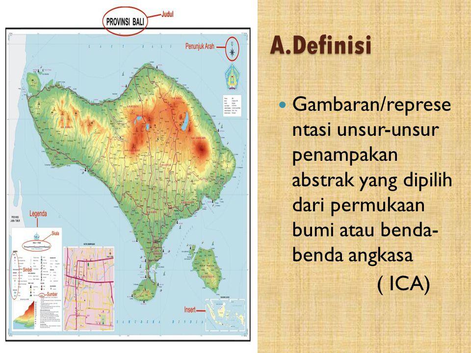 A.Definisi  Mappa = taplak meja  Gambaran konvensional permukaan bumi pada bidang datar yang diperkecil dengan skala
