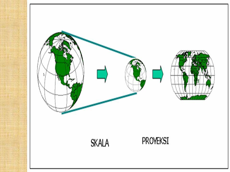 Proyeksi Peta  Proyeksi peta adalah pemindahan sistem paralel dan meridian yang ditetapkan dalam bidang globe yang lengkung ke atas bidang datar.