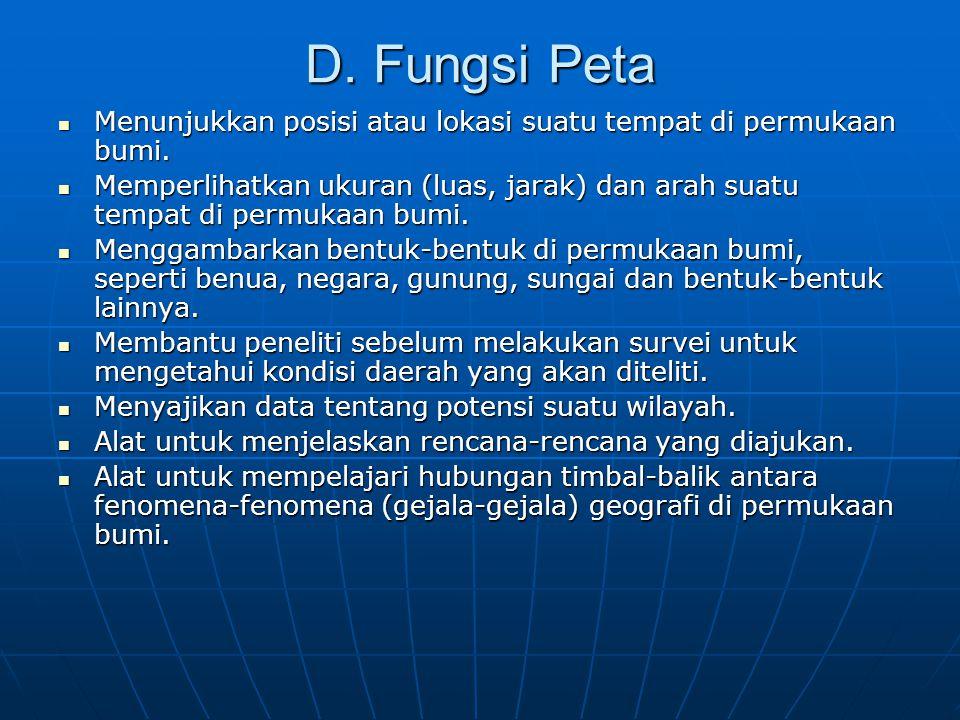 D.Fungsi Peta  Menunjukkan posisi atau lokasi suatu tempat di permukaan bumi.