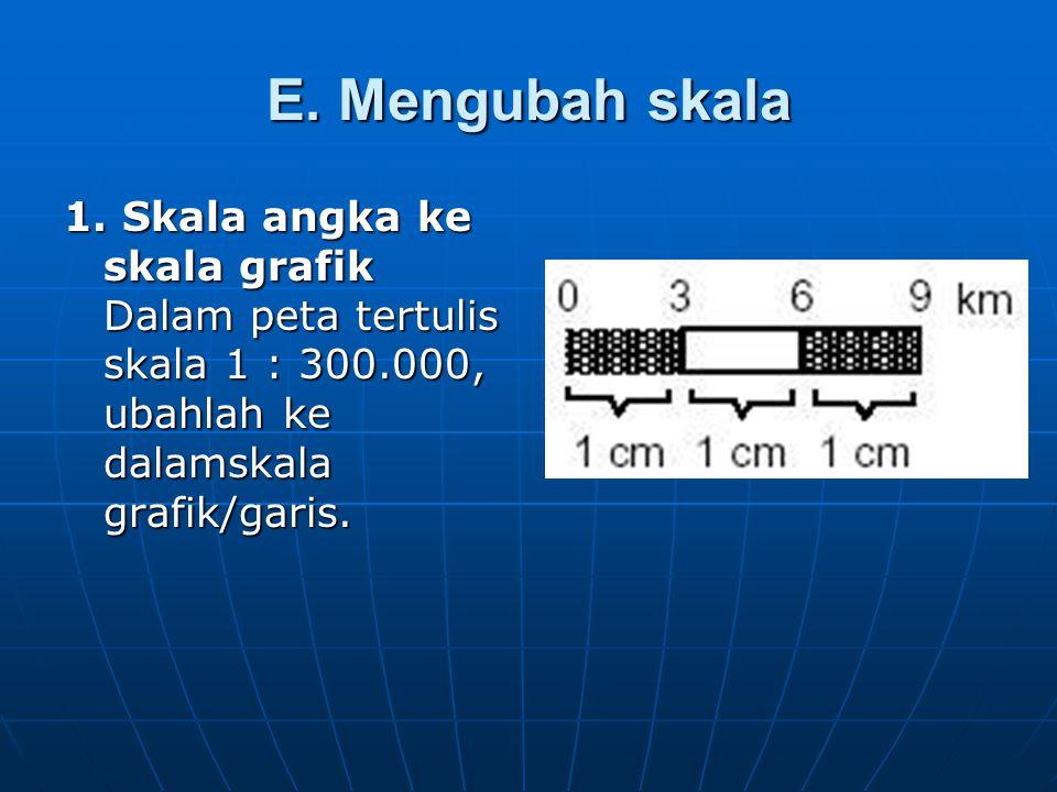 E. Mengubah skala 1. Skala angka ke skala grafik Dalam peta tertulis skala 1 : 300.000, ubahlah ke dalamskala grafik/garis.
